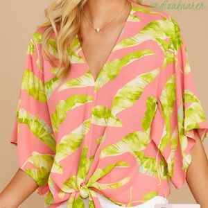 Tops - Pink Palm Print Tie Top   Blouse   Knot
